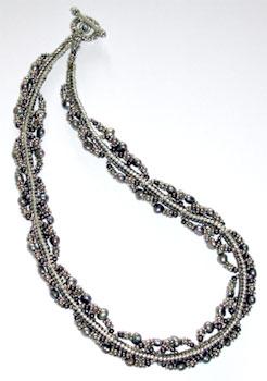 Herringbone & Pearl Triple Spiral