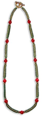 Box Chain Herringbone with Coral Necklace