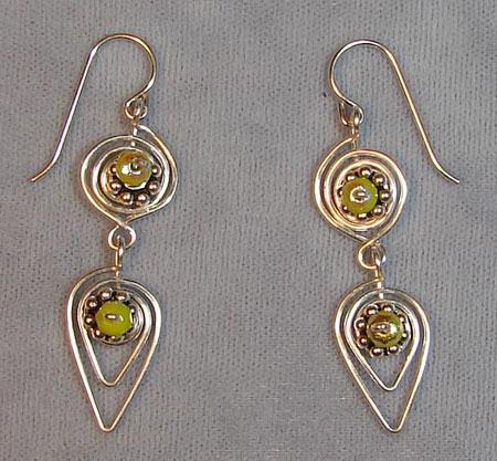Spiral Leaf Wire Earrings
