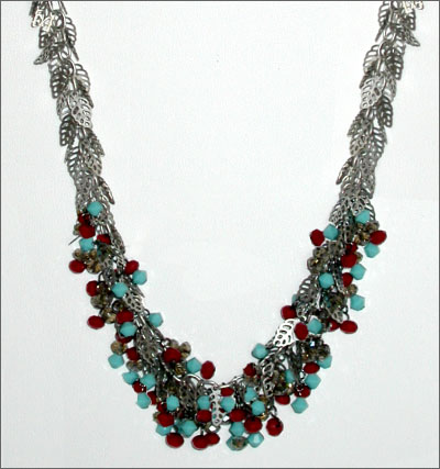 Embellished Leaf Chain Necklace
