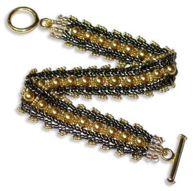 Gold Pearls & Herringbone Bracelet