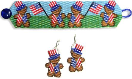 Patriotic Bears Bracelet & Earrings