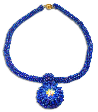 True Blue Bezel Button & Peyote Necklace