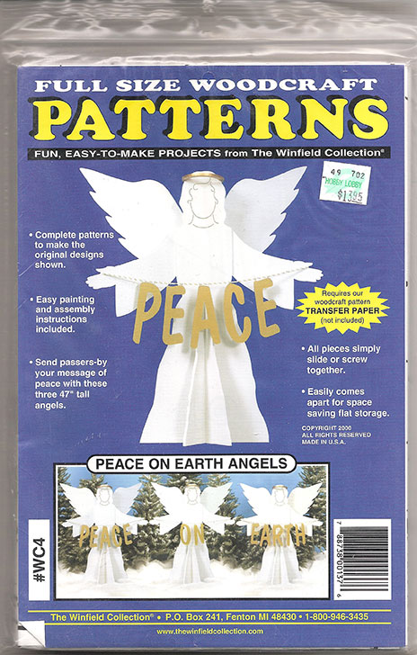 Wood Woodcraft Patterns, Angel, Sova Enterprises