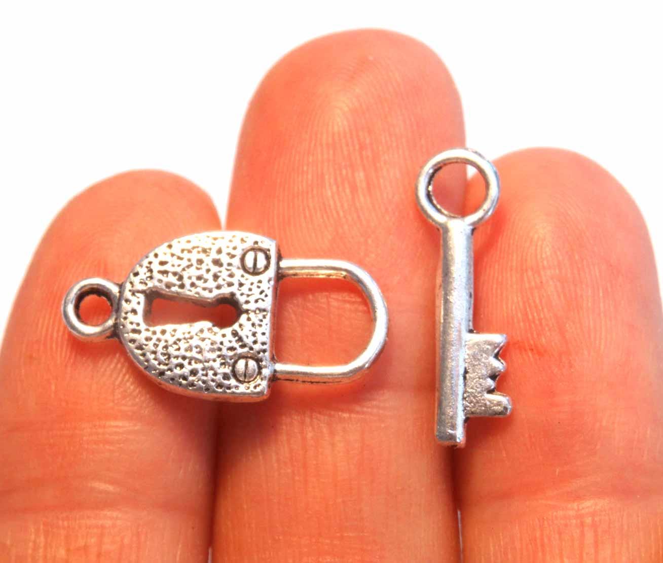 3sets Tibetan silver lock key design toggle clasp h5087