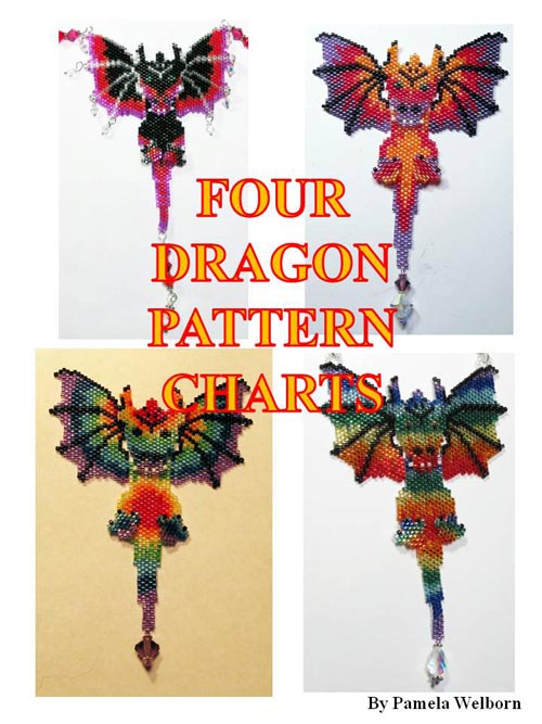 Four Alternate Beaded Dragon Pattern Charts, Sova Enterprises
