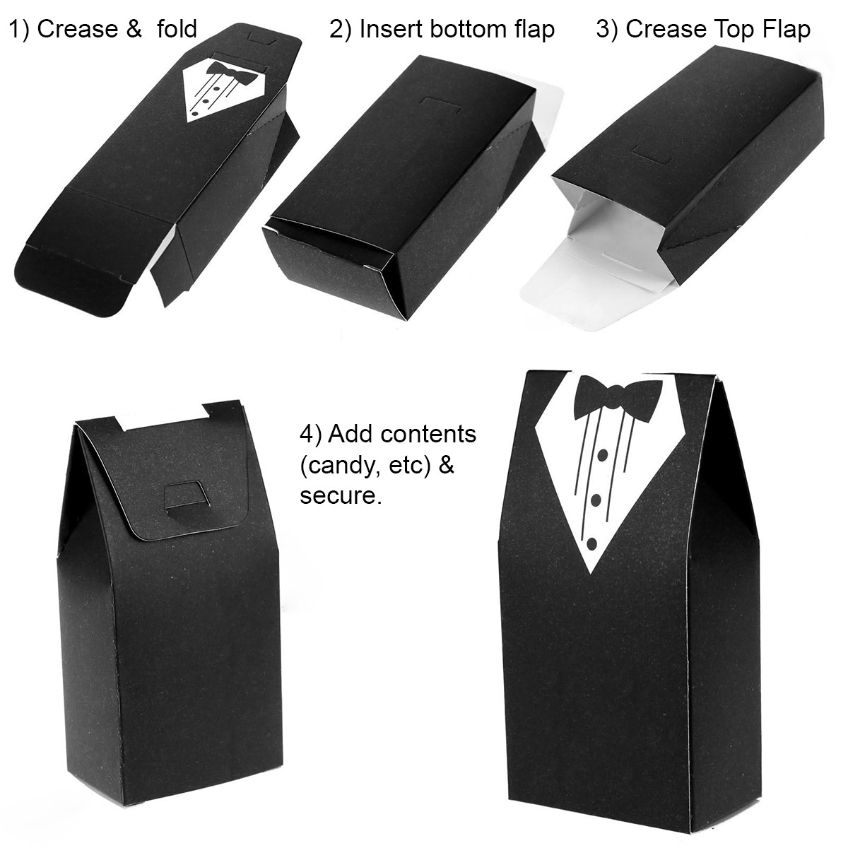 50 Wedding Favor Candy Box, Bride Dress & Groom Tuxedo (25 sets ...