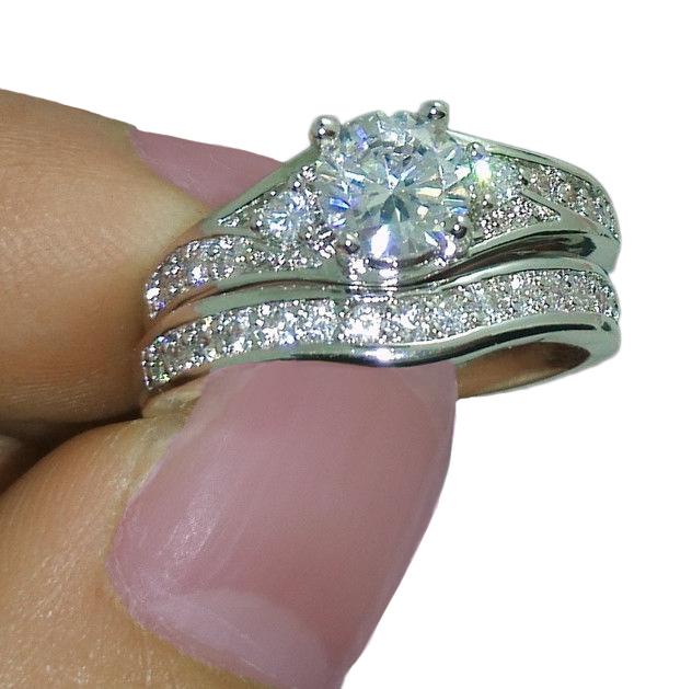 10Kt White Gold Filled White Topaz Wedding Bride Ring Set