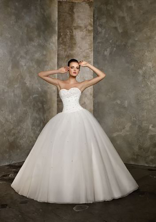 Beaded Bodice Floor Length with Train Wedding Gown Ivory Size 18 ...