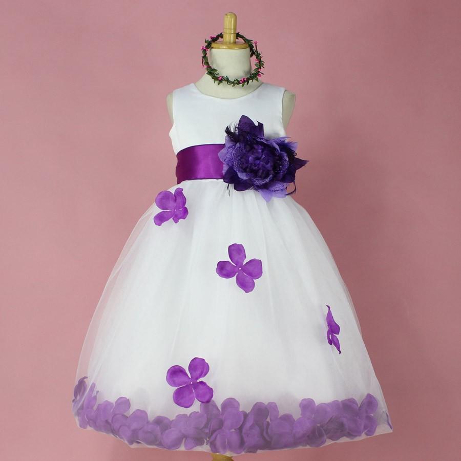 Purple Flower Petals Dress Easter Wedding Communion Girl Size 5