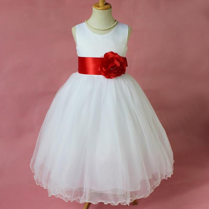 White Red Flower Girl Dress Easter Communion Girl Size 5 Sova