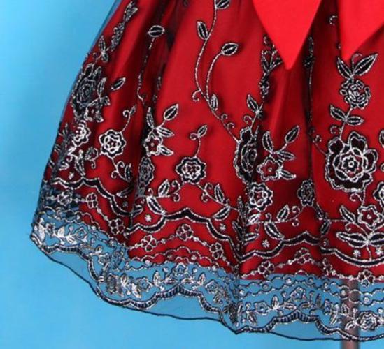 Red Black Silver Lace Fancy Princess Flower Girl Dress Size 7 Sova