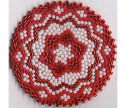 Red On Red Mandala For Really Really Round Peyote Sova