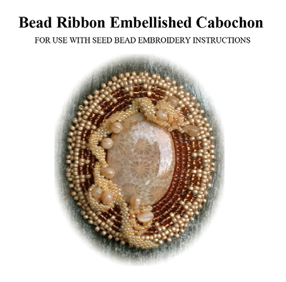 Bead Embroidery Ribbon Embellished Cabochon Pin