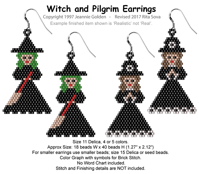 Witch & Pilgrim Pin or Earrings