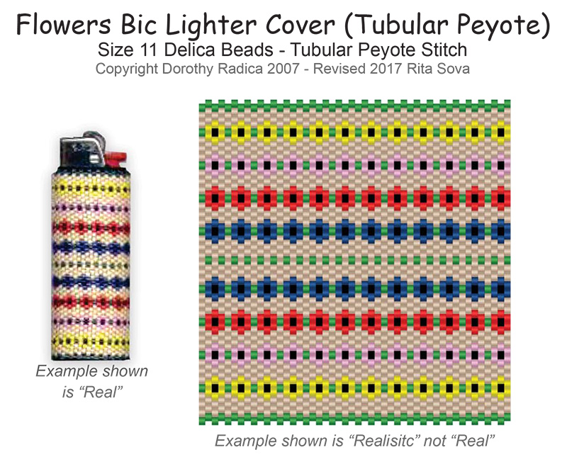 Flower Bic Lighter Cover (Tubular Peyote)