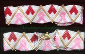 Breast Cancer Awareness Bracelet with Hearts Word Map & Char