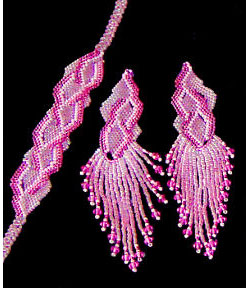 Fuschia Flames Bracelet and Earring Set