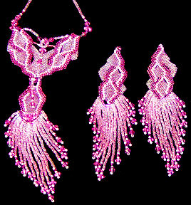 Fuschia Flames Earrings and Necklace Set