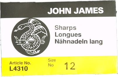 Size 12 Sharps - John James - 25 Pack