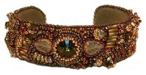 Bead Embroidery Cuff with Crystal Rivoli