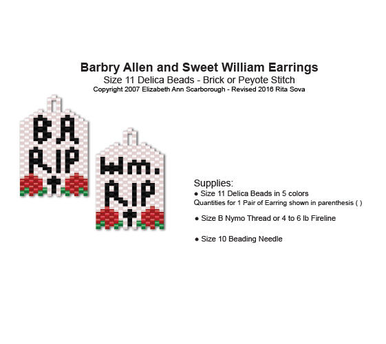 Barbry Allen and Sweet William Gravestone Earrings
