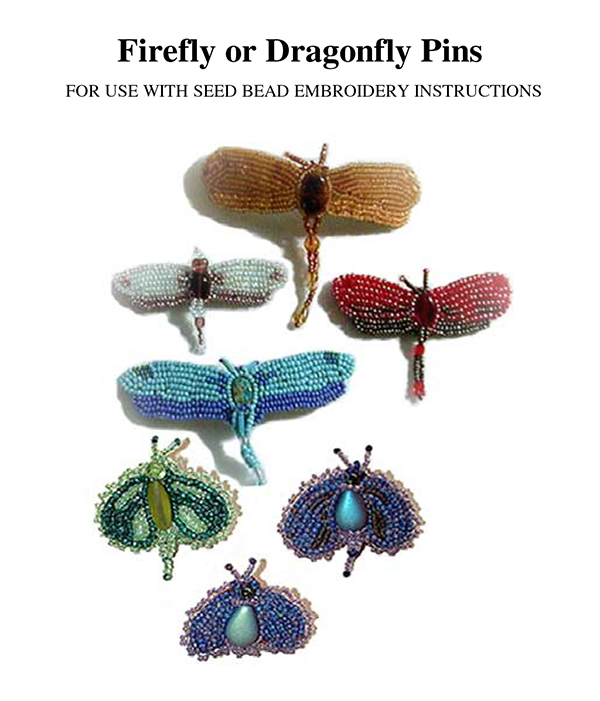 Bead Embroidery Dragonfly - Firefly Pins