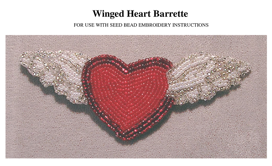 Bead Embroidery Winged Heart Barrette