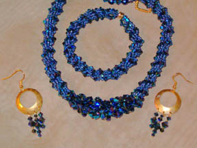 Double Crystal Spiral Necklace, Bracelet and Earrings