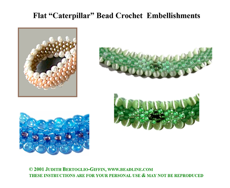 Bead Crochet FLAT Caterpillar Patterns