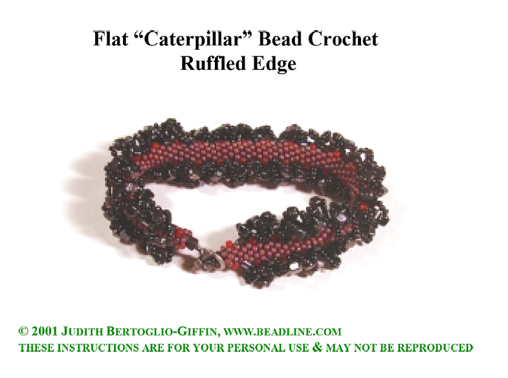Bead Crochet FLAT Caterpillar Ruffled Bracelet