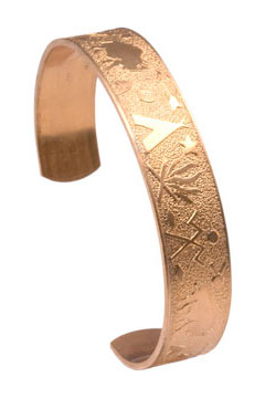 "Copper Bracelet Cuff Blank, 1/2"" wide, Design 2"
