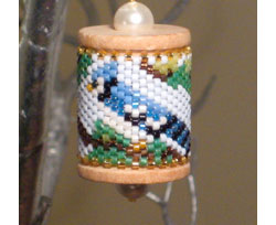 Blue Jay Spool Ornament