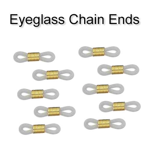 Eyeglass Holder Ends, Clear Rubber/Gold Center (5 sets)