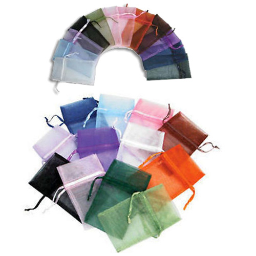 "Organza Drawstring Pouch 3"" x 4"" Pouches Assorted Colors (12)"