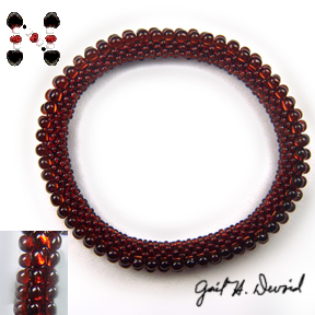 3-Drop Bead Crochet Bracelet - Red #355