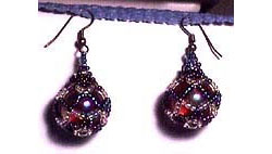 Beaded Marble Earrings