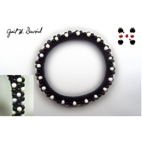 Black and White 3-Drop Bead Crochet Bracelet #374