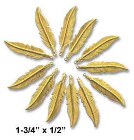 "Feather Charm, 1-3/4"" x 1/2"" Gold (12 Pk)"