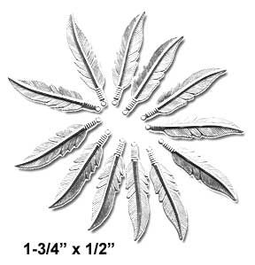 "Feather Charm, 1-3/4"" x 1/2"" Silver (12 Pk)"