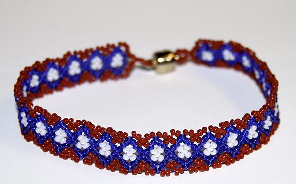 Red, White, Blue - Bracelet or Band (Huichol)