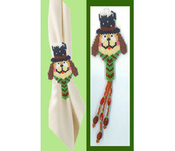 Brown Christmas Dog Napkin Ring/Ornament