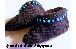 Knit Beaded Slippers