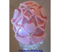 Pink Hearts Beaded Egg