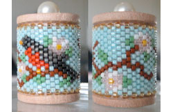 Robin & Apple Blossoms Spool Ornament