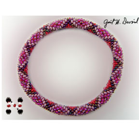 Red Hat Bead Crochet Bracelet #245