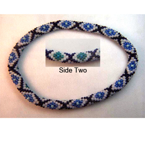 Blue Moon Diamond Bead Crochet Bracelet #399