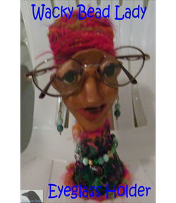 Wacky Bead Lady Eyeglass Holder