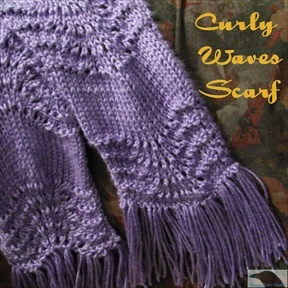 Curly Waves Knitted Scarf