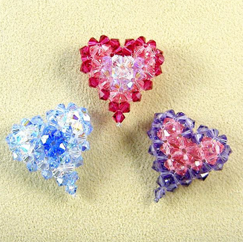 Multicolor Crystal Puffy Heart